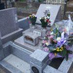 洋型墓石 ピンク系御影石